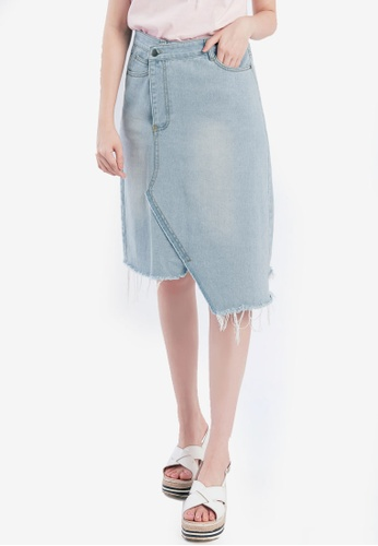 Tokichoi blue Asymmetrical Midi Denim Skirt With Raw Hem TO550AA0SAMMMY_1
