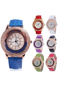 Rhinestone Casual Leather Strap Watch Set of 7 SY-2