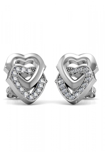 Her Jewellery silver Swarovski® Crystals - 2 Hearts Earrings (18K White Gold Plated) Her Jewellery HE581AC57HUSMY_1