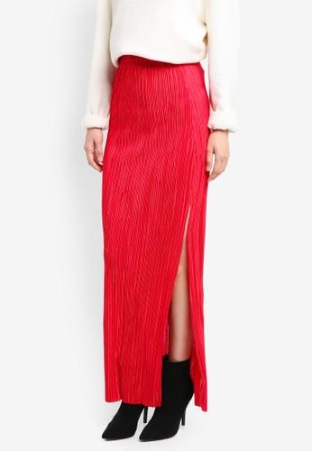 Miss Selfridge red Plisse Maxi Skirt MI665AA0SS6UMY_1