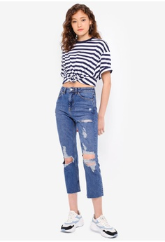bfdfb0a7 10% OFF TOPSHOP Stripe Roll Sleeve T-Shirt RM 79.00 NOW RM 70.90 Sizes S/M  M/L XS/S