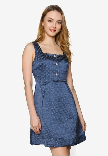 Saturday Club blue Strappy A-line Dress With Pleated Detail 92370AADAE1FEDGS_1