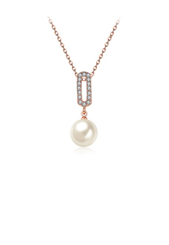Glamorousky white Simple Plated Rose Gold Pearl Pendant with Austrian Element Crystal and Necklace BD5B9ACDFC2C62GS_1