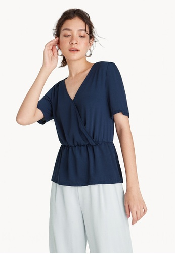 Pomelo navy Surplice Ruched Waist Top - Navy EA02CAAD7E3DD0GS_1