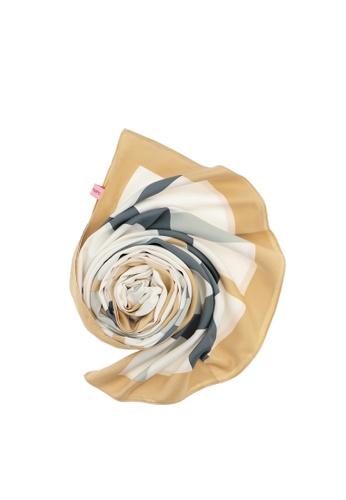 Carlo Rino beige Beige Iconic Stripes Long Silk Scarf 7BA59ACB9C9455GS_1