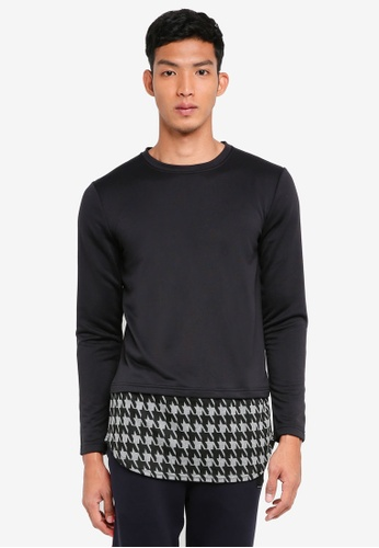 UniqTee black Long Sleeve Sweatshirt With Extended Houndstooth Hem FE2D8AAA96D6B0GS_1