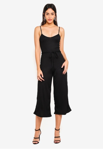 e905a521f2ce Shop MISSGUIDED Black Rib Culotte Jumpsuit Online on ZALORA Philippines