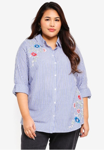 Dorothy Perkins blue Plus Size Stripe Embroidered Shirt C0A1BAA375BC5BGS_1