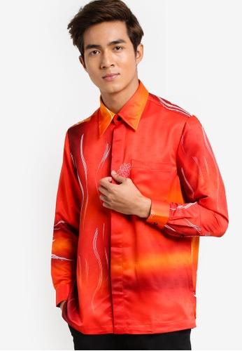Gene Martino red Long Sleeve Batik Shirt GE222AA00HCTMY_1