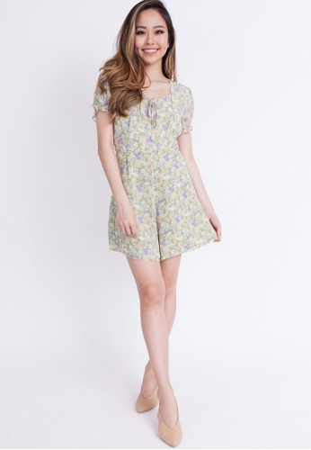 Hook Clothing green and multi Floral Print Romper 0C7A7AACC16419GS_1
