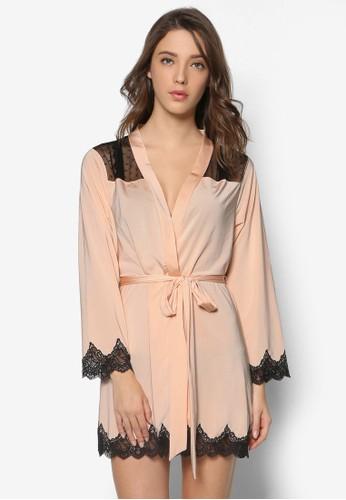 蕾絲拼接裹zalora 折扣碼飾睡袍, 服飾, 服飾