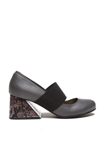 messe 灰色 小羊皮時尚異形粗跟瑪莉珍鞋 ME601SH09PO0TW_1