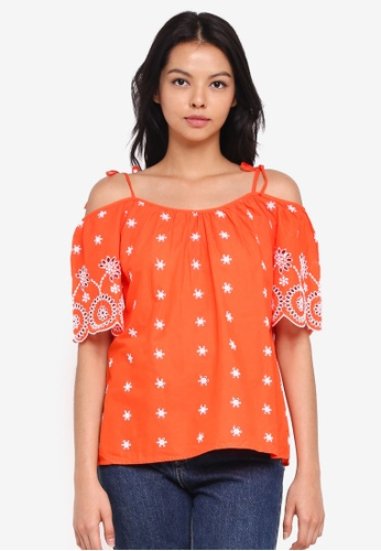 Dorothy Perkins orange Orange Broderie Top 4C8C0AA9D43C58GS_1