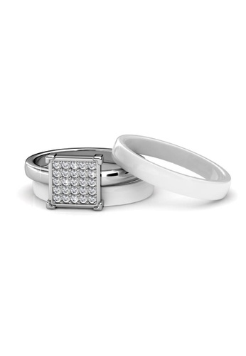 Her Jewellery silver Square Ceramic Ring (White) - Made with premium grade crystals from Austria HE210AC71ECISG_1