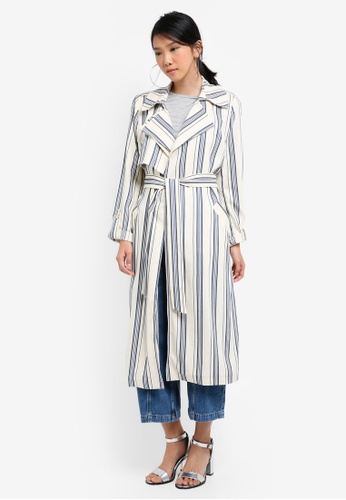River Island blue Stripe Tie Waist Trench Coat 7C1C9AA013FEA1GS_1