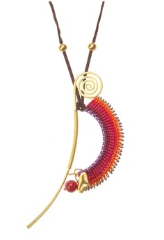 Spiral Brass Macrame Pendant Necklace (With Heart & Red Coral Bead Charm)
