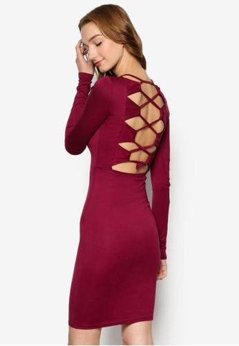 Cassie 露背空交錯帶長袖連身zalora 衣服尺寸裙, 服飾, 服飾