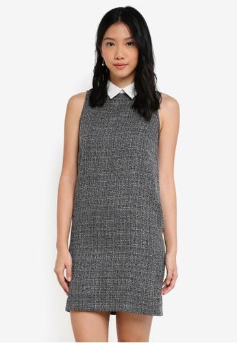 ZALORA grey and white Lace Collar Dress 1C8D7AA67B49E3GS_1