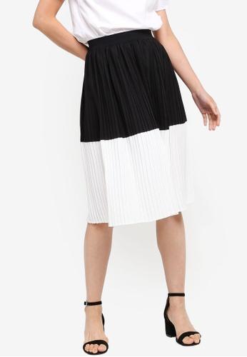 ZALORA BASICS black and white and multi Basic Colourblock Pleated Skirt 1DF8EAA7891FBBGS_1