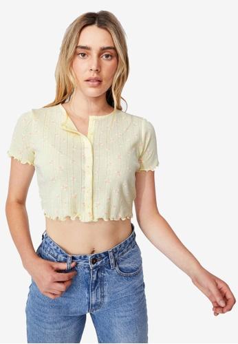 Cotton On yellow Peyton Pointelle Short Sleeve Cardi Top 31B35AA9D73F36GS_1