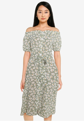 ZALORA BASICS green and multi Off Shoulder Dress with Self Tie 98813AAFD13406GS_1