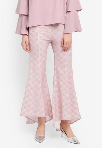 Zalia pink Lace Dip Hem Flare Pants D8A12AAFF65697GS_1