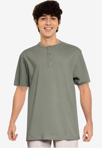 GAP 綠色 SFT Henley T恤 26A79AAF58A0FBGS_1