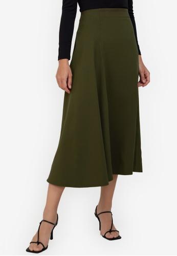 ZALORA WORK green Asymmetric Midi Skirt 36D77AAE714A52GS_1