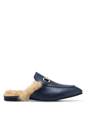 Carlton London blue and navy Fur Backless Loafeers C3325SH007B563GS_1