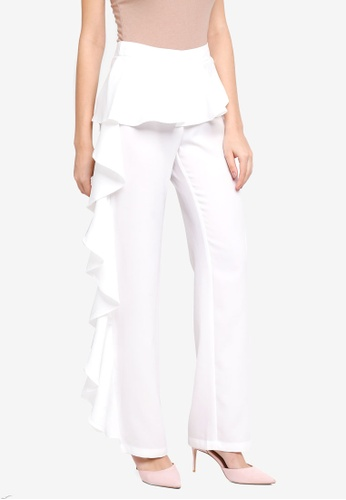 Lubna white Side Ruffles Pants 47FB8AA88018A7GS_1