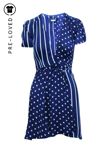 Reformation blue Pre-Loved reformation Mini Wrap Dress with Polkadots and Stripes E1723AA3D243CCGS_1