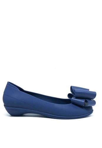 Twenty Eight Shoes 藍色 甜心蝴蝶結果凍膠小踭平底鞋 m071 D6F89SHD47970BGS_1