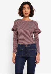 WAREHOUSE red Stripe Frill Long Sleeve Top WA653AA0RU9BMY_1