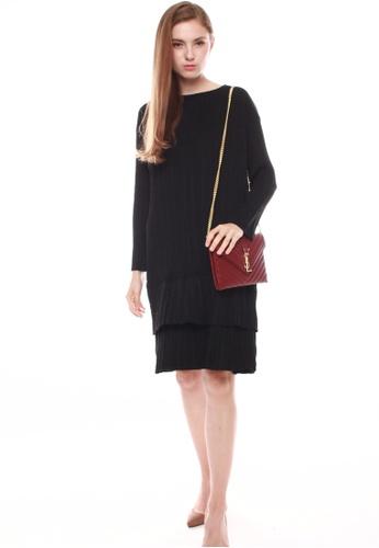 JOVET black Pleated Dress BFAB1AAB9D7F67GS_1