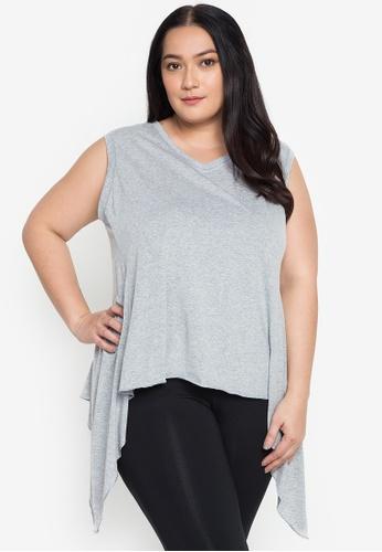 Multiples grey Diana V Neck Sleeveless Plus Size Swing Blouse 918C3AA3C2EC2CGS_1