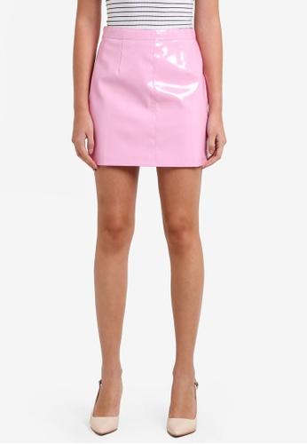 Miss Selfridge multi Pink Vinyl A-Line Skirt MI665AA0RXAFMY_1
