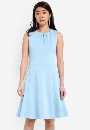 ZALORA blue Essential Pleat Detail Bodice Fit & Flare Dress F0AD0ZZ2D36648GS_1