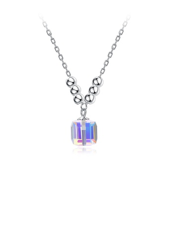 Glamorousky white 925 Sterling Sparkling Silver Simple Fashion Pendant Necklace with Austrian Element Crystal Cube 48C56ACAC1CB3AGS_1