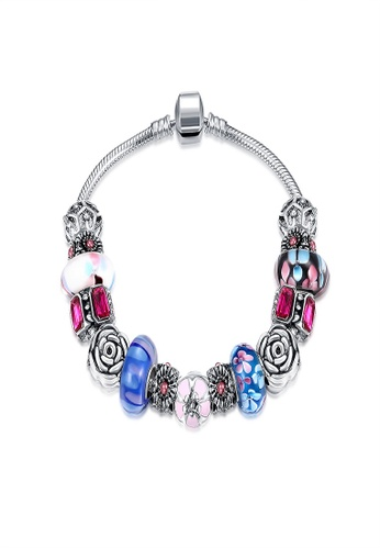 Treasure By B D Silver H047 Multi Color Drip Pattern Flower Beads Snake Chain Charm