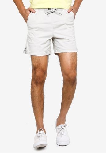 !Solid grey Gubi Elastic Shorts AE525AA6D7AE0EGS_1