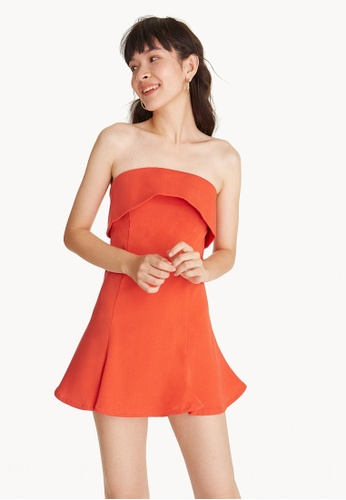 Pomelo orange Fold Over Strapless Dress - Orange 33EBAAA6719D90GS_1