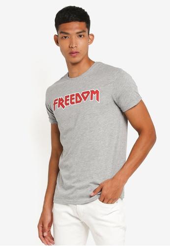 !Solid grey Quanah Slogan T-Shirt CE723AA461AAB9GS_1