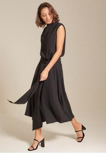 Dressing Paula black Draped Crepe Midi Dress 13D13AAE7B3A5DGS_1
