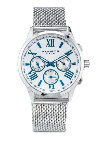 Akribos XXIV silver Multifunction Stainless Steel Watch 05C72AC2865572GS_1