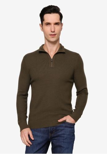 Banana Republic 綠色 Merino Waffle Half Zip Sweater 9E290AAABDA1EBGS_1