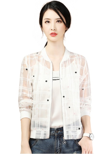 A-IN GIRLS white Sheer Embroidered Chiffon Jacket 63736AA1FDA7B2GS_1