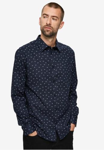 Selected Homme navy Slim Malcolm Shirt Long Sleeves Shirt E0BFFAA17C3793GS_1