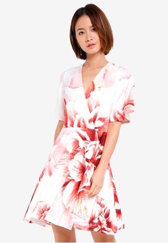 CLOSET white Wrap Over Circle Skirt Dress 61495AA1432292GS_1