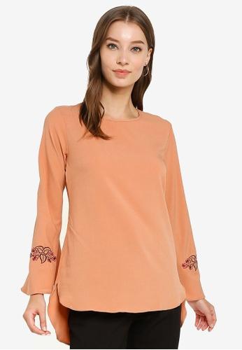 Aqeela Muslimah Wear orange Floral Embroidered Top D289CAA9EAF339GS_1