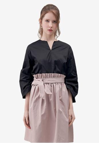Kodz black Ruched Sleeves Structured Top 55969AAE19915BGS_1